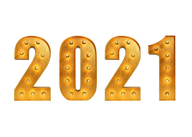 Цифры 2021 с лампочками в аренду
